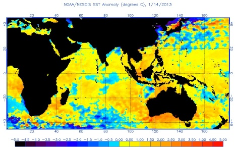 SST anomaly 14 Jan 2013