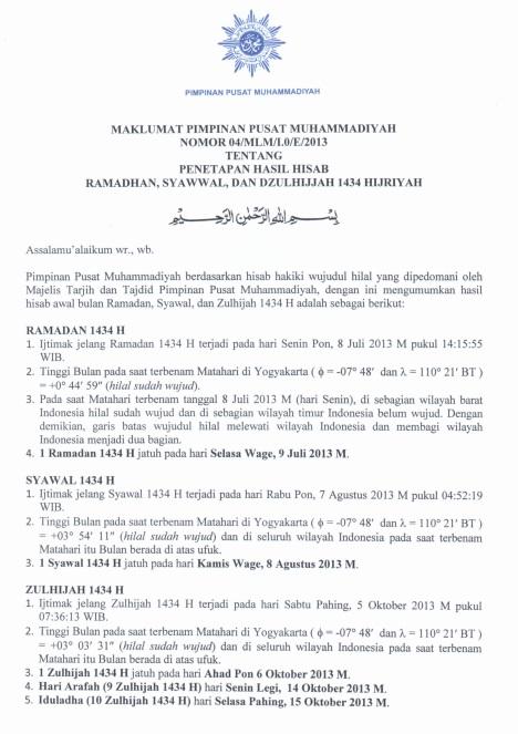 Maklumat Muhammadiyah 1434-1
