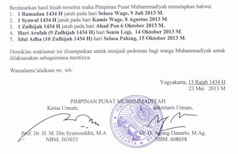Maklumat Muhammadiyah 1434-2